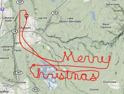 Linda mensagem de Feliz Natal, escrita nos céus, por GPS Track