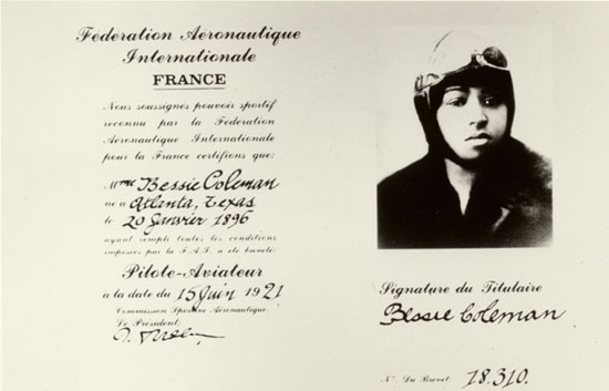 A licença de piloto de Bessie Coleman