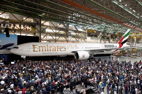 Número 1.000. O 777 é o avião de corredor duplo que mais rápido chegou a este marco na história