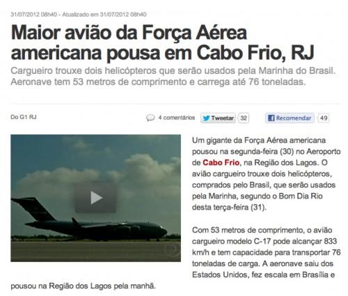 Trecho de notícia Globo