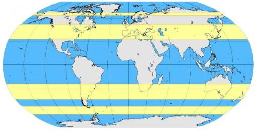 Faixas de latitude onde a jet stream é mais significativa