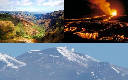 Paisagens inusitadas do Havaí: o cânion de Waimea, na ilha de Kauaʻi; os rios de lava do Kilauea, na ilha maior; e o imponente Mauna Kea, também na ilha maior, a maior montanha do mundo em volume e mais alta que o Everest, se considerada a altura desde a sua base no fundo do mar.