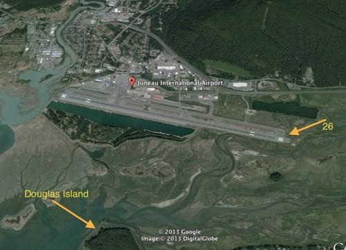 Visão da pista e da direção da Ilha Douglas