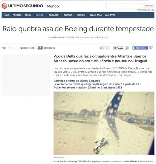 Manchete do IG sobre o incidente com aeronave da Delta em Buenos Aires