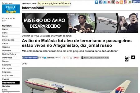 A notícia que o R7 publicou baseada em Jornal Russo comentada pelo AeM #MH370