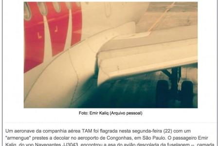 """Professor nota asa """"descolada"""", avisa aos tripulantes e é expulso do avião"""