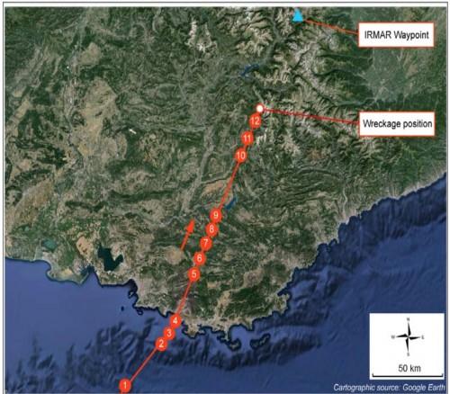 Germanwings trajetória do voo