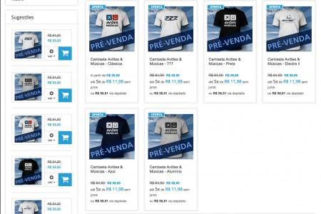 Sobre a pré-venda das camisetas do Aviões e Músicas