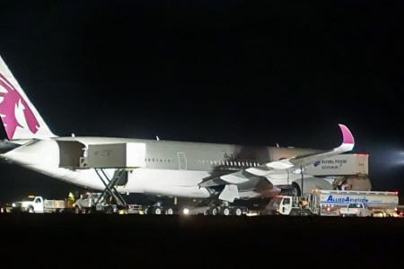Qatar A350 charter abortando a decolagem em New York #Video