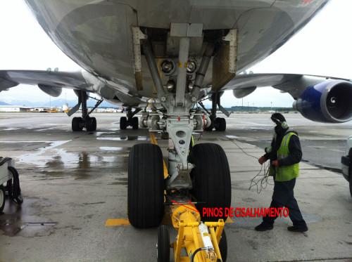 Barra de reboque acoplada a um 747