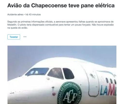Notícia no Twitter sobre avião da Chapecoense