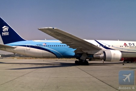 Boeing 767 da Delta hoje em GRU com uma bela pintura para uma bela campanha