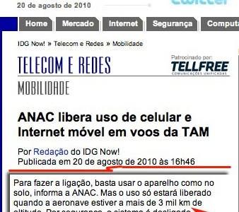 ANAC libera o uso do celular, só para a TAM e só para alguns aviões.