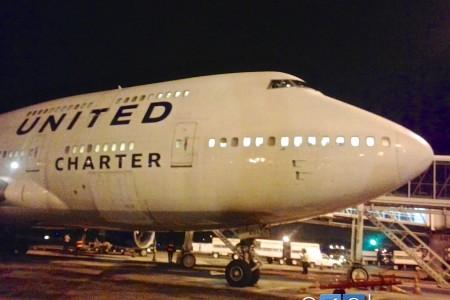 Registro da passagem de um Boeing 747-400 da United por Guarulhos