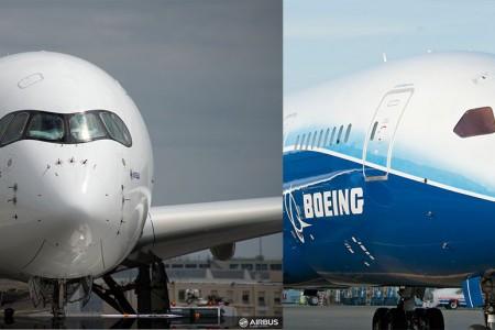 Airbus A350 e Boeing 787 cara a cara. Mas não são concorrentes diretos.