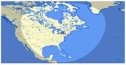 Mapa criado enquanto o avião era acompanhado em tempo real