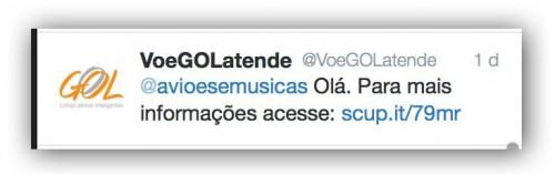 Nota da GOL no twitter