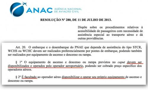 Reprodução da norma da ANAC que rege a acessibilidade